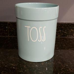 Rae Dunn TOSS wastebasket TIFFANY BLUE